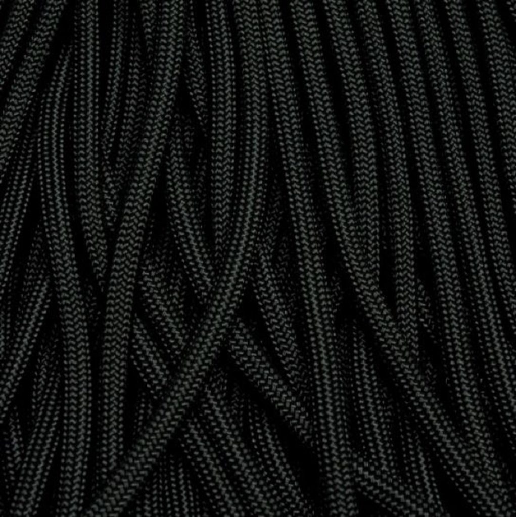 Black paracord up close