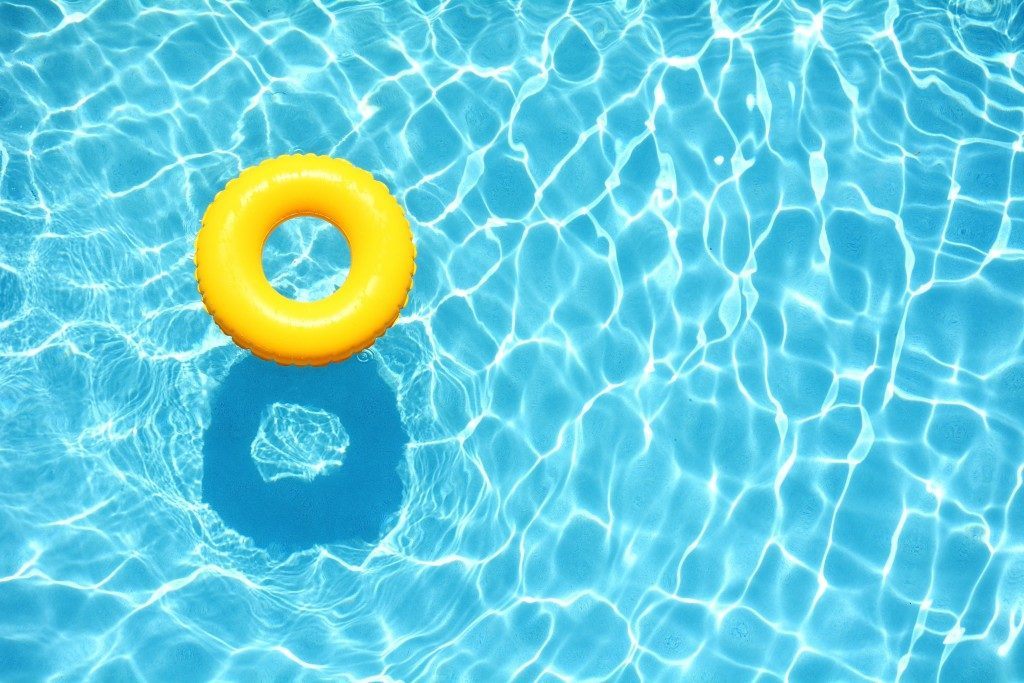 yellow float in a swimming pool