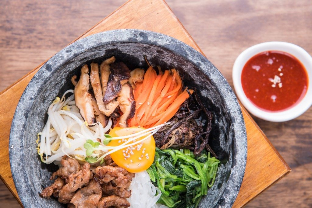 korean bibimbap with hot sauce