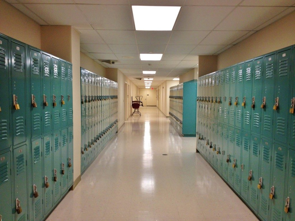 lockers of school hallway