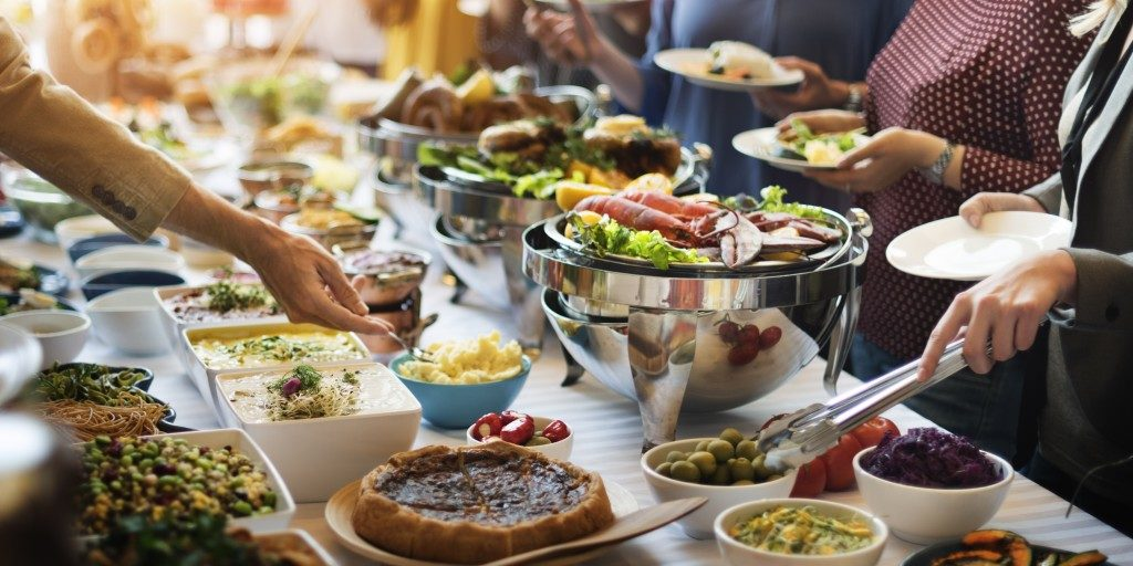 Food buffet at a company party