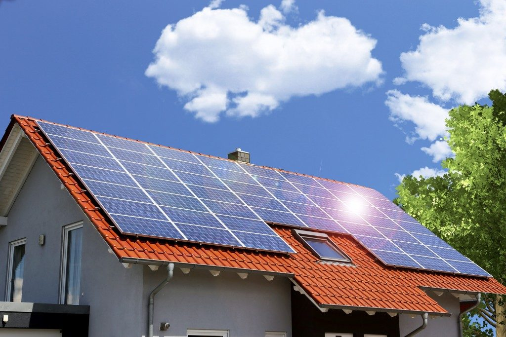 house installed with solar panels