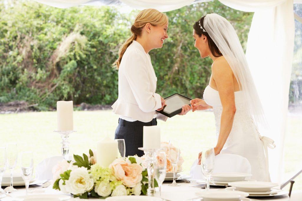 bride with wedding planner