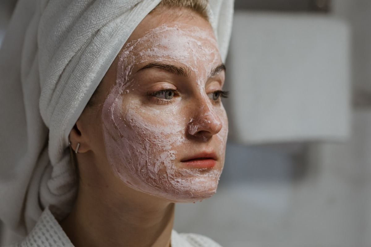 woman wearing a towel on her head
